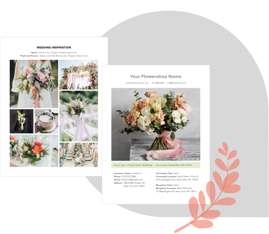 BloomsBy Wedding Floral Management Software inspiration pages