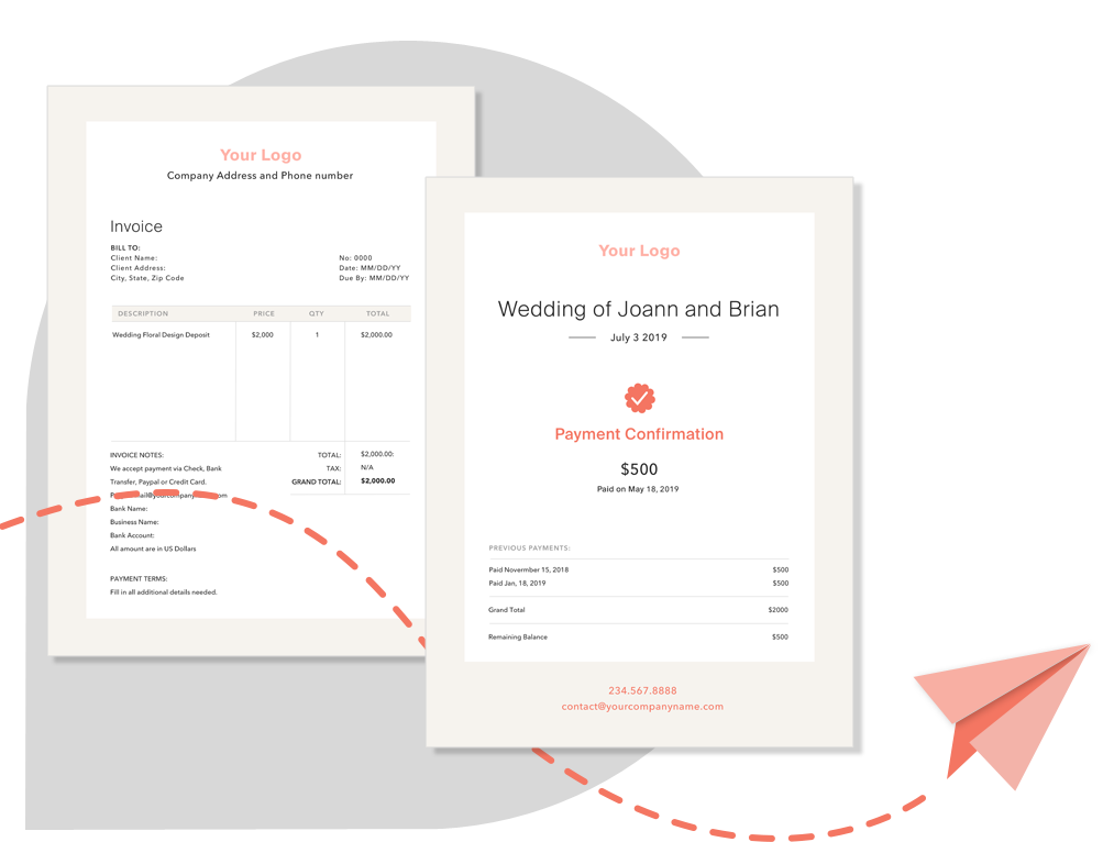 BloomsBy Floral Wedding Management Software Invoices