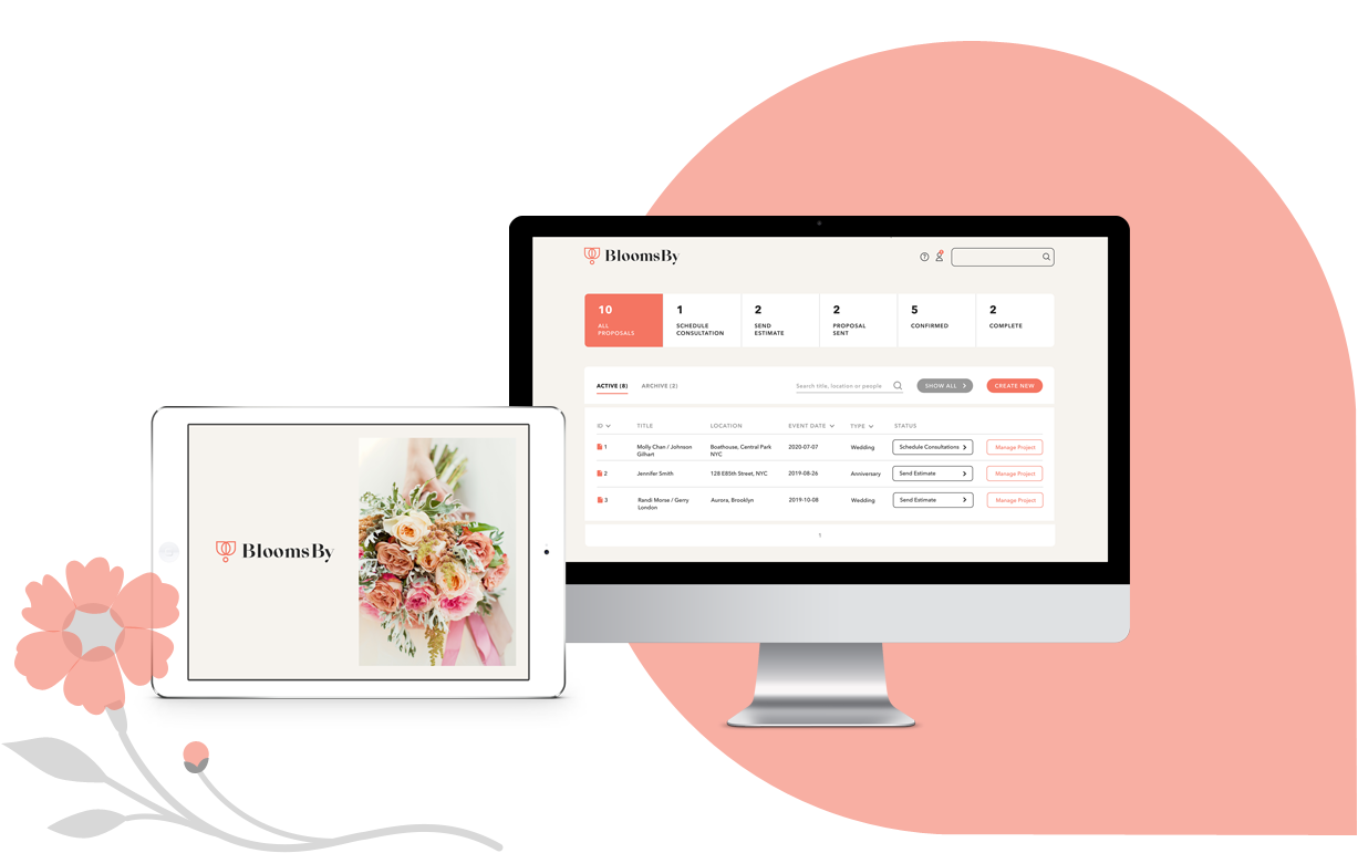 BloomsBy Floral Wedding Management Software on iPad and Mac Desktop